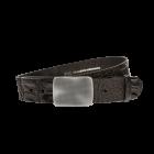 Gürtel Memphis 3019 - 40 mm - Rindleder, Krokoprägung - schwarz / Metall - silber