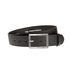 Gürtel Base II 3067 - 40 mm - Rindleder, glatt - schwarz / Metall - silber