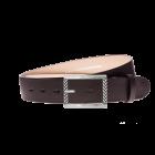 Gürtel Base III 3067 - 40 mm - Rindleder, glatt - dunkelbraun / Metall - silber
