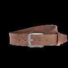 Gürtel Base VI 3161 - 40 mm - Rindleder, genarbt - dunkelbraun / Metall - silber