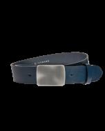 Gürtel Manila 3019 - 40 mm - Rindleder, glatt - blau / Metall - silber