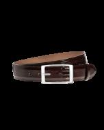 Gürtel Namibi 3050 - 40 mm - Rindleder, Straußenprägung - dunkelbraun / Metall - silber