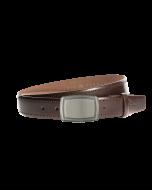 Gürtel Rocho 3096 - 35 mm - Rindleder, glatt - dunkelbraun / Metall - anthrazit