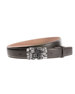 Gürtel Fasadie 3282 - 35 mm - Rindleder, glatt - schwarz / Metall - silber & anthrazit