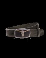 Gürtel Grenada 3272 - 40 mm - Rindleder, genarbt - schwarz / Metall - silber