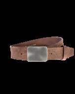 Gürtel Base VI 3019 - 40 mm - Rindleder, genarbt - dunkelbraun / Metall - silber