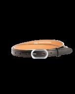 Gürtel Borelli I 3145 - 20 mm - Rindleder, glatt - schwarz / Metall - silber