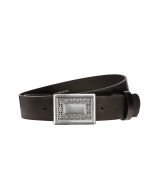 Gürtel Manila I 3112 - 40 mm - Rindleder, glatt - schwarz / Metall - silber