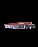 Gürtel Plated II 3049 - 20 mm - Rindleder, metallic - silber / Metall - silber
