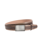 Gürtel Tulino 3095 - 35 mm - Rindleder, zweifarbig - dunkelbraun / Metall - silber & anthrazit