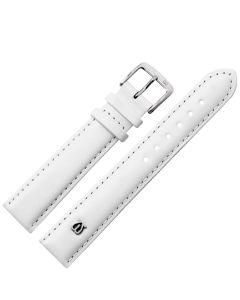 Uhrband - Rindleder, glatt - weiß / silber - 12 mm