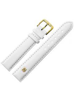 Uhrband - Rindleder, glatt - weiß / gold - 12 mm