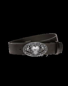 Gürtel Manila 3285 - 40 mm - Rindleder, glatt - schwarz / Metall - silber