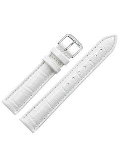Uhrband - Rindleder, Krokoprägung - weiß / silber - 12 mm