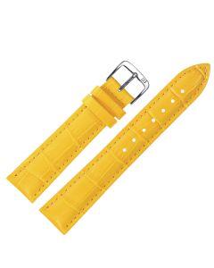 Uhrband - Rindleder, Krokoprägung - gelb / silber - 12 mm
