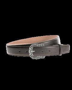 Gürtel Fasadie 3253 - 35 mm - Rindleder, glatt - schwarz / Metall - silber