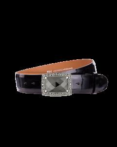 Gürtel Rubino 3003 - 40 mm - Rindleder, Lackoptik - schwarz / Metall - silber