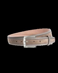 Gürtel Bordina 3084 - 35 mm - Rindleder, Nubuk - grau / Metall - silber