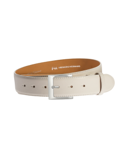 Gürtel Galetta 3157 - 40 mm - Rindleder, glatt - weiss / Metall - silber