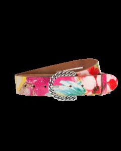 Gürtel Manila 3232 - 40 mm - Rindleder, bunt pigmentiert - blümchen / Metall - silber