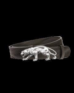 Gürtel Grenada 3117 - 40 mm - Rindleder, genarbt - schwarz / Metall - silber