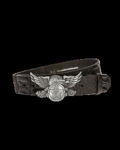 Gürtel Memphis 3216 - 40 mm - Rindleder, Krokoprägung - schwarz / Metall - silber