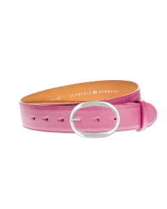 Gürtel Galetta 3031 - 40 mm - Rindleder, glatt - rosa / Metall - silber