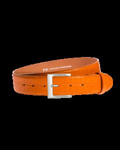 Gürtel Marino III 3157 - 40 mm - Rindleder, Krokoprägung - orange / Metall - silber
