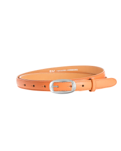 Gürtel Borelli 3201 - 20 mm - Rindleder, glatt - orange / Metall - silber