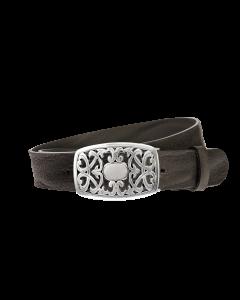 Gürtel Grenada 3009 - 40 mm - Rindleder, genarbt - schwarz / Metall - silber