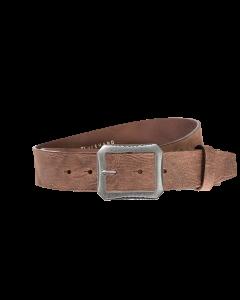 Gürtel Base VI 3012 - 40 mm - Rindleder, genarbt - dunkelbraun / Metall - silber