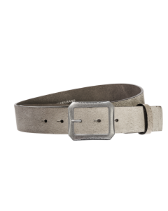 Gürtel Base V 3012 - 40 mm - Rindleder, genarbt - grau / Metall - silber