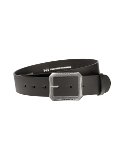 Gürtel Base II 3012 - 40 mm - Rindleder, glatt - schwarz / Metall - silber