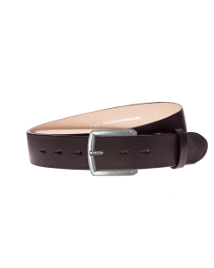 Gürtel Base III 3018 - 40 mm - Rindleder, glatt - dunkelbraun / Metall - silber antik