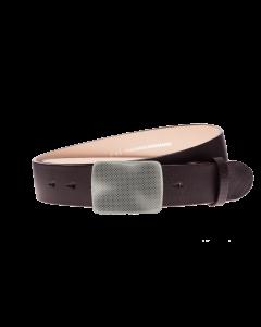 Gürtel Base III 3019 - 40 mm - Rindleder, glatt - dunkelbraun / Metall - silber