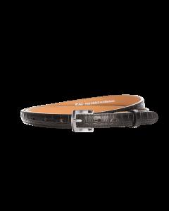 Gürtel Kroko 3047 - 20 mm - Rindleder, Krokoprägung - schwarz / Metall - silber