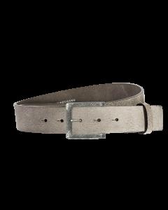 Gürtel Base V 3151 - 40 mm - Rindleder, genarbt - grau / Metall - silber