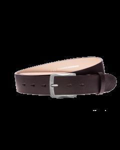 Gürtel Base III 3161 - 40 mm - Rindleder, glatt - dunkelbraun / Metall - silber