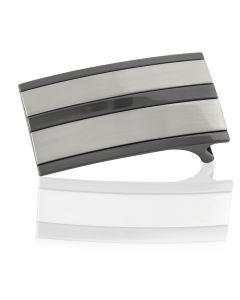 Gürtelschnalle Stripe silber / anthrazit - 35 mm