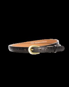 Gürtel Kroko 3247 - 20 mm - Rindleder, Krokoprägung - schwarz / Metall - gold
