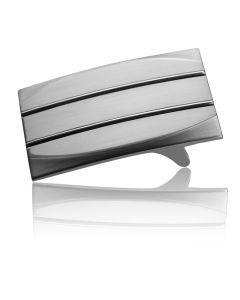 Gürtelschnalle Lineo - silber anthrazit - 35 mm