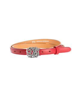 Gürtel Borelli 3236 - 20 mm - Rindleder, glatt - rot / Metall - silber