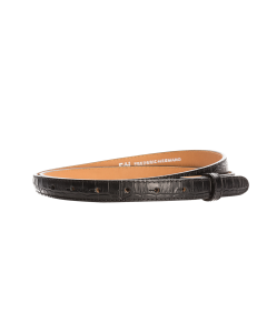 Gürtelriemen - Rindleder, Krokoprägung - schwarz - 20 mm