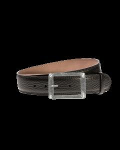 Gürtel Marokko 3020 - 40 mm - Rindleder, genarbt - schwarz / Metall - silber