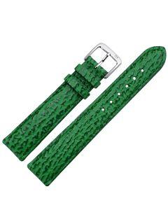 Uhrband - Rindleder, Haiprägung - grün / silber - 12 mm