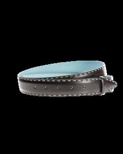 Gürtelriemen - Rindleder, glatt - schwarz/blau - 35 mm
