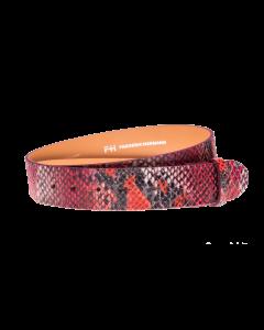 Gürtelriemen - Rindleder, Pythonprägung - rot - 40 mm