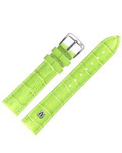 Uhrband - Rindleder, Krokoprägung - h.grün / silber - 14 mm