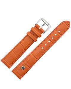 Uhrband - Rindleder, Krokoprägung - orange / silber - 12 mm