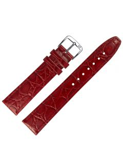 Uhrband - Rindleder, Krokoprägung - rot / silber - 8 mm
